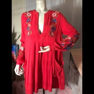 Free people beautiful red blouse 👚,or mini dress